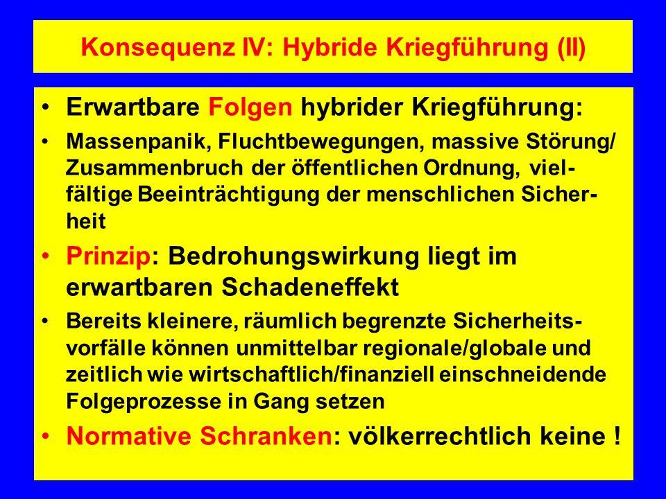 Konsequenz IV: Hybride Kriegführung (II)