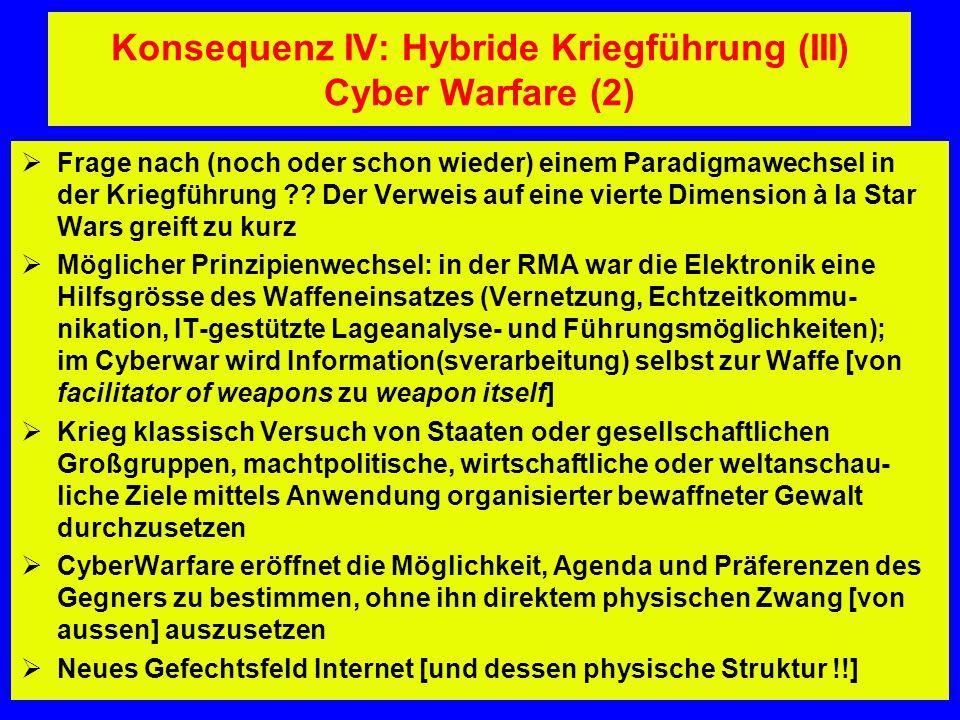 Konsequenz IV: Hybride Kriegführung (III) Cyber Warfare (2)