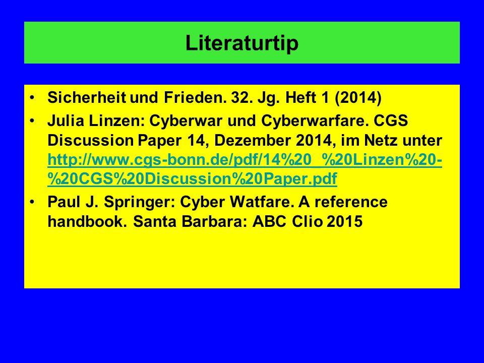Literaturtip Sicherheit und Frieden. 32. Jg. Heft 1 (2014)