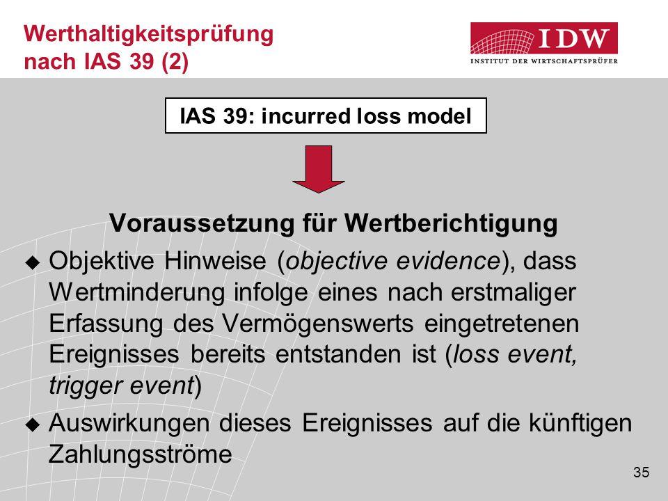 Werthaltigkeitsprüfung nach IAS 39 (2)