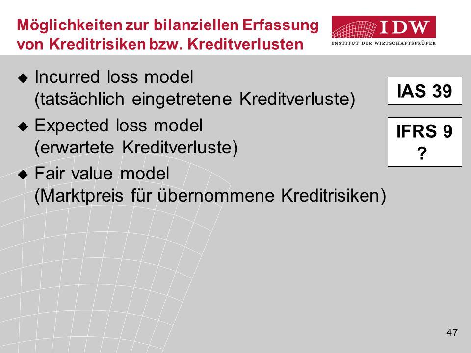 Incurred loss model (tatsächlich eingetretene Kreditverluste)
