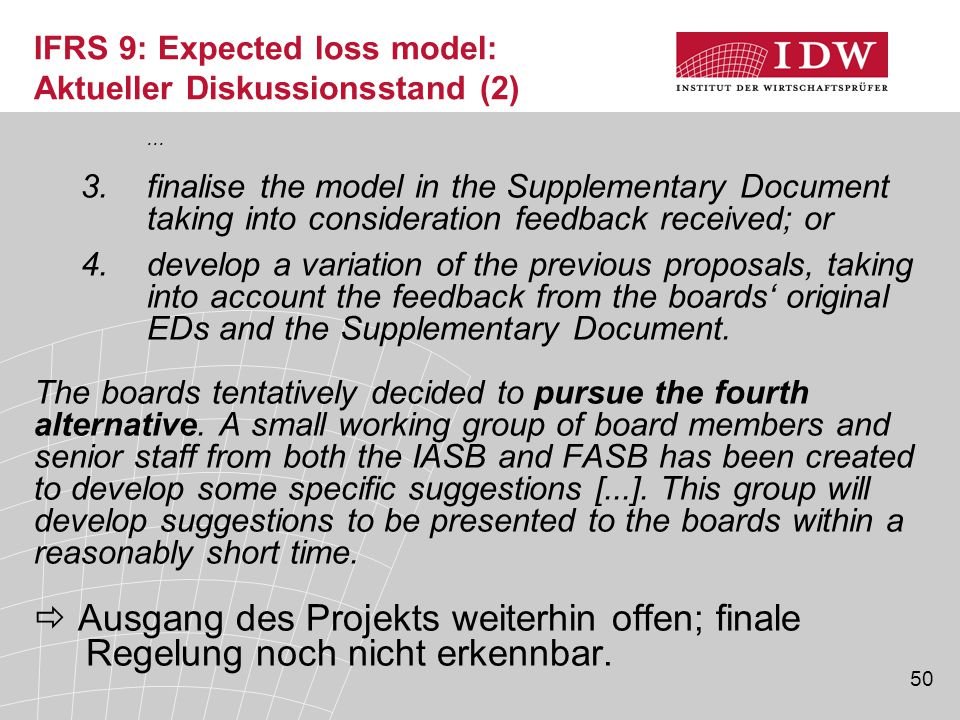 IFRS 9: Expected loss model: Aktueller Diskussionsstand (2)