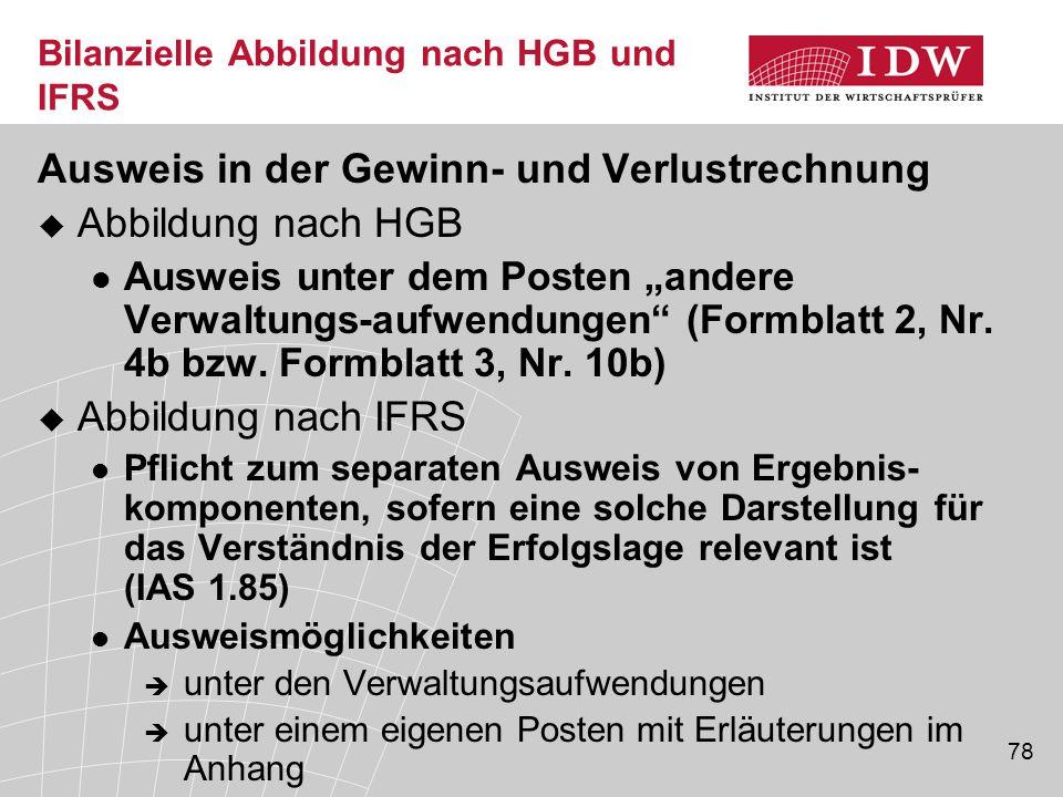 Bilanzielle Abbildung nach HGB und IFRS