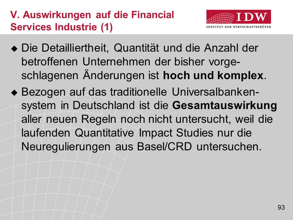 V. Auswirkungen auf die Financial Services Industrie (1)