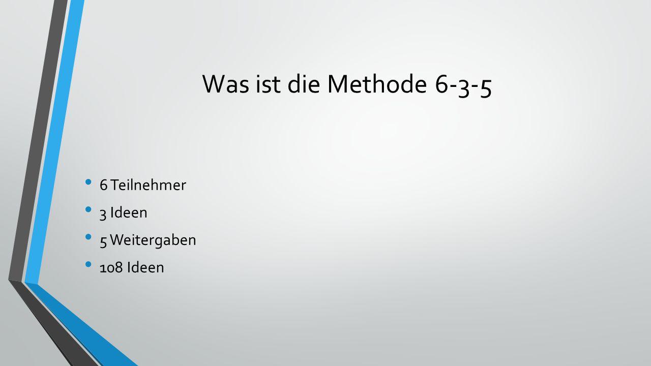 Was ist die Methode 6-3-5 6 Teilnehmer 3 Ideen 5 Weitergaben 108 Ideen