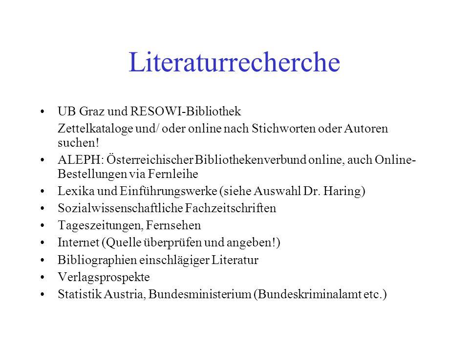 Literaturrecherche UB Graz und RESOWI-Bibliothek