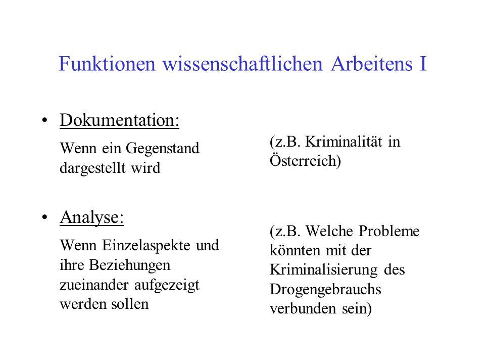 Funktionen wissenschaftlichen Arbeitens I