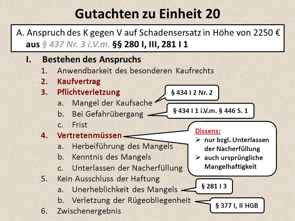 Gutachten zu Einheit 20 A. Anspruch des K gegen V auf Schadensersatz in Höhe von 2250 € aus § 437 Nr. 3 i.V.m. §§ 280 I, III, 281 I 1.