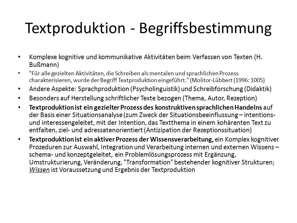 Textproduktion - Begriffsbestimmung