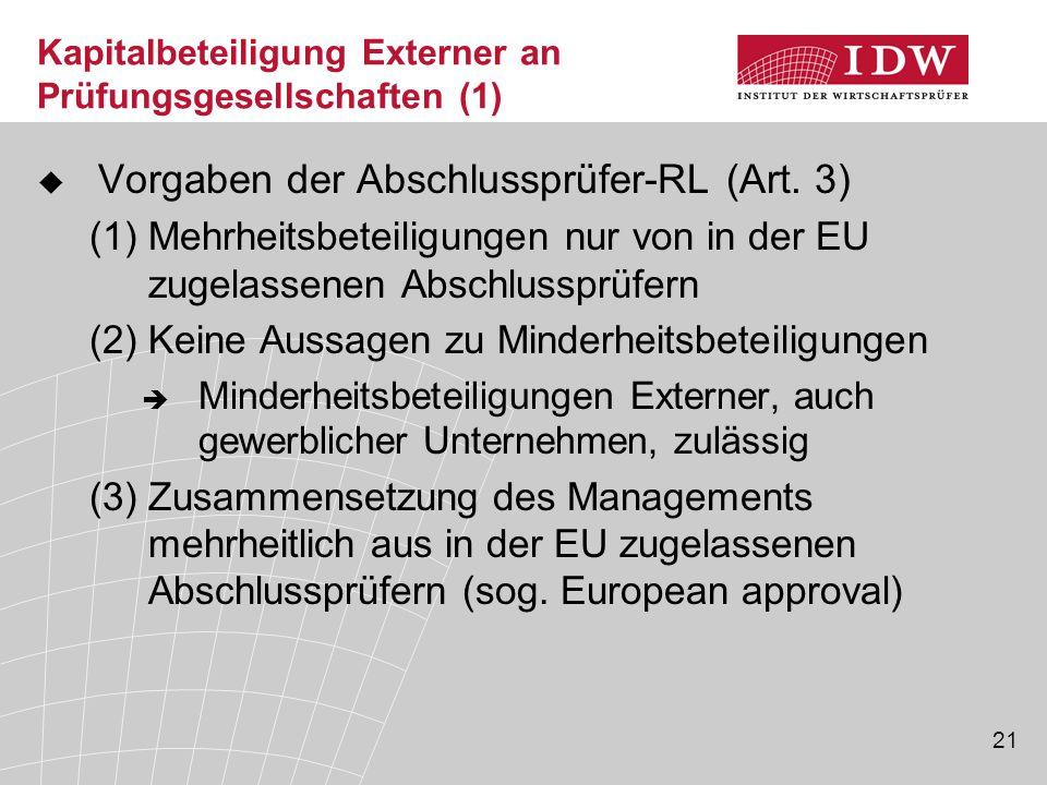 Kapitalbeteiligung Externer an Prüfungsgesellschaften (1)