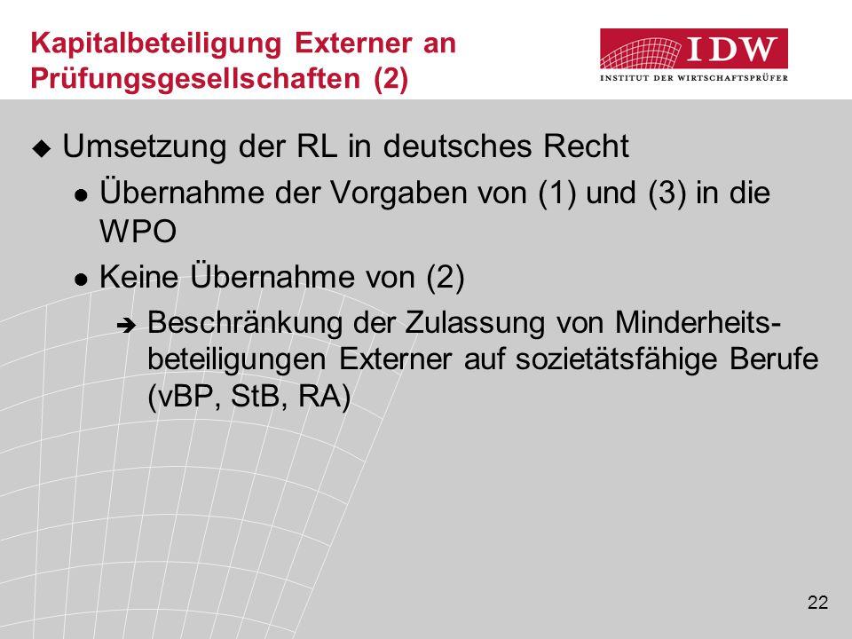 Kapitalbeteiligung Externer an Prüfungsgesellschaften (2)