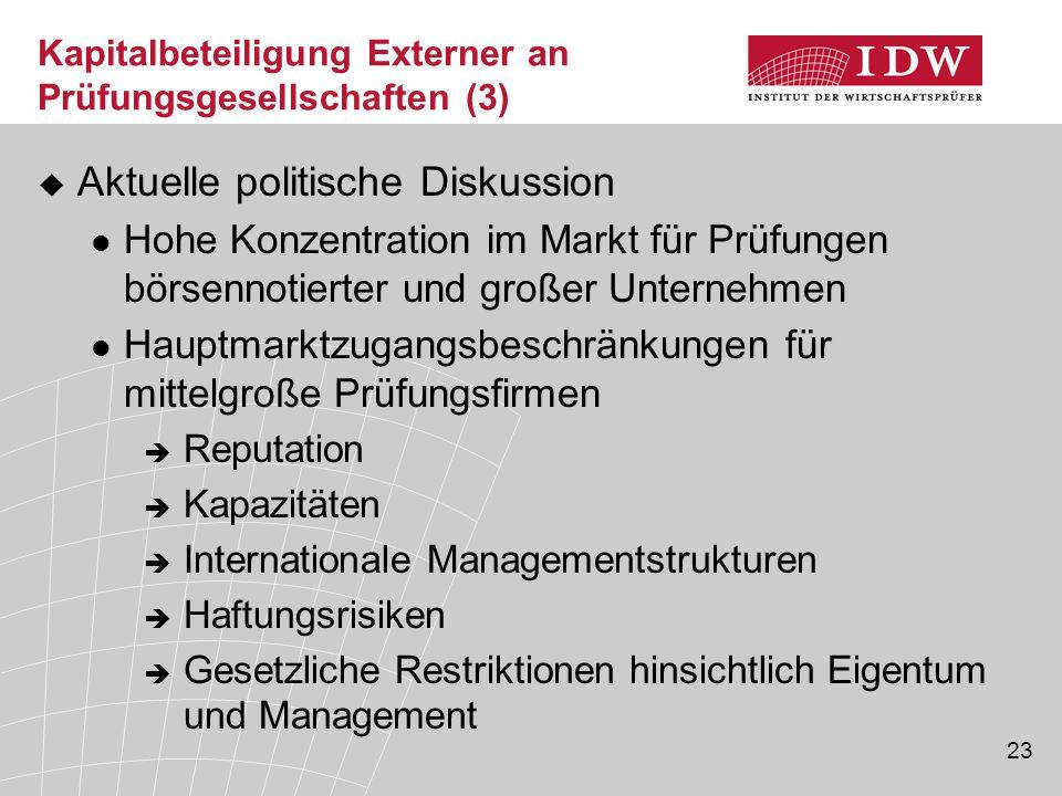 Kapitalbeteiligung Externer an Prüfungsgesellschaften (3)