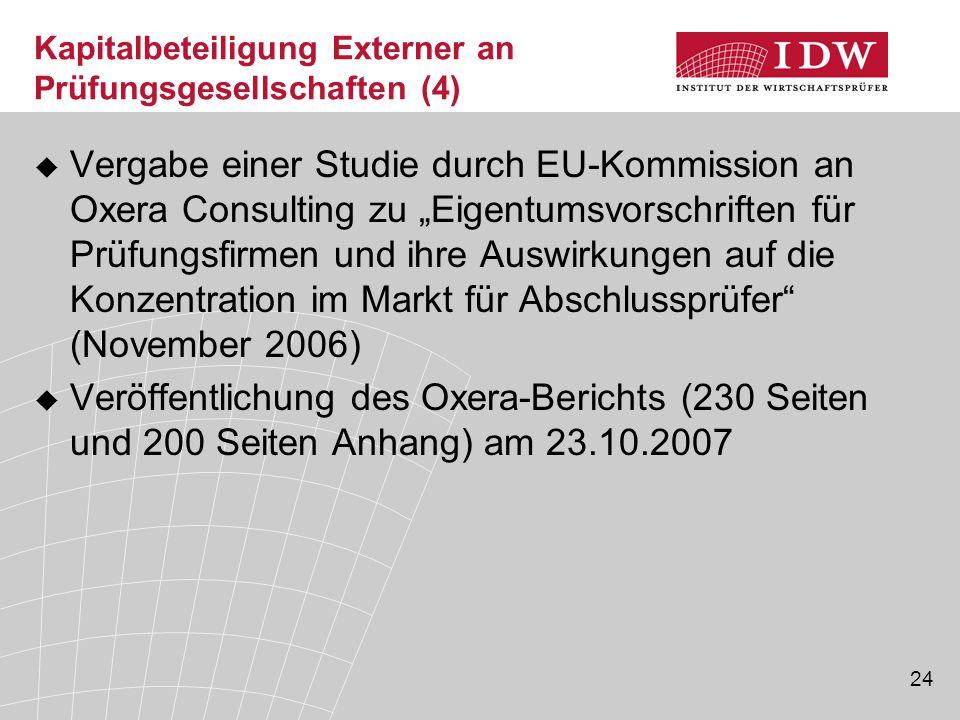 Kapitalbeteiligung Externer an Prüfungsgesellschaften (4)