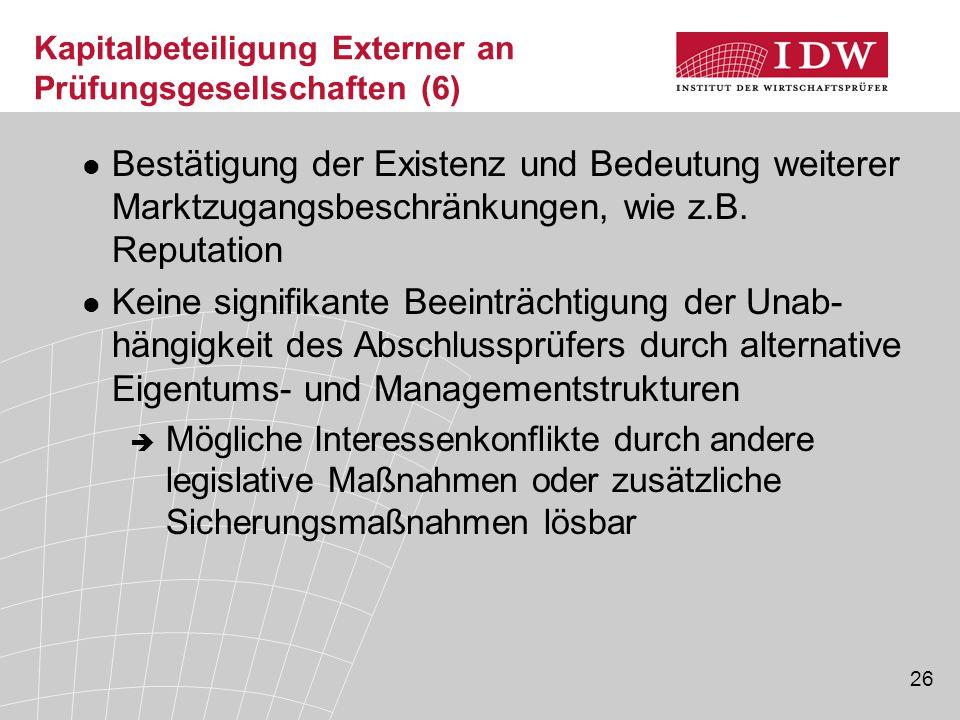 Kapitalbeteiligung Externer an Prüfungsgesellschaften (6)