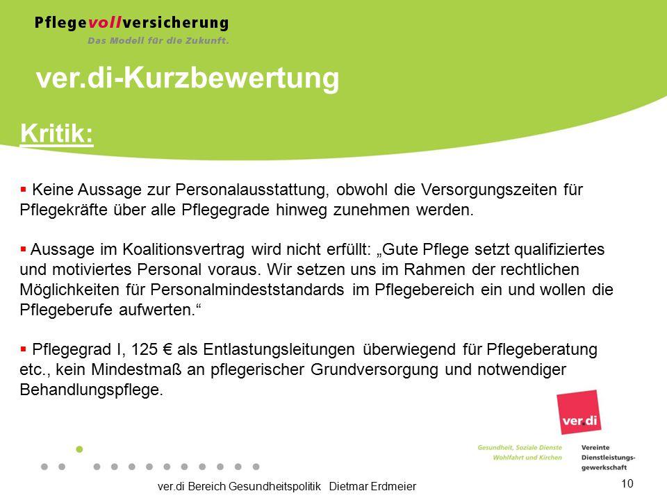 ver.di-Kurzbewertung Kritik: