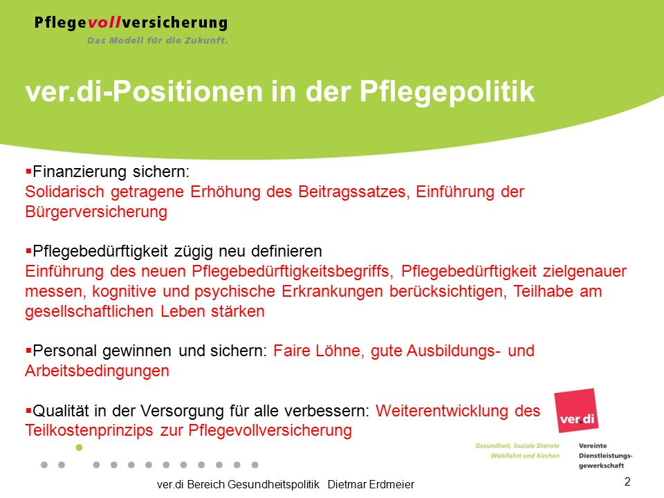 ver.di-Positionen in der Pflegepolitik