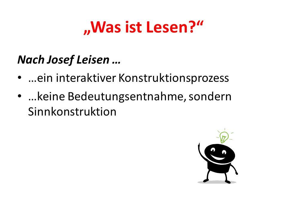 """""""Was ist Lesen Nach Josef Leisen …"""