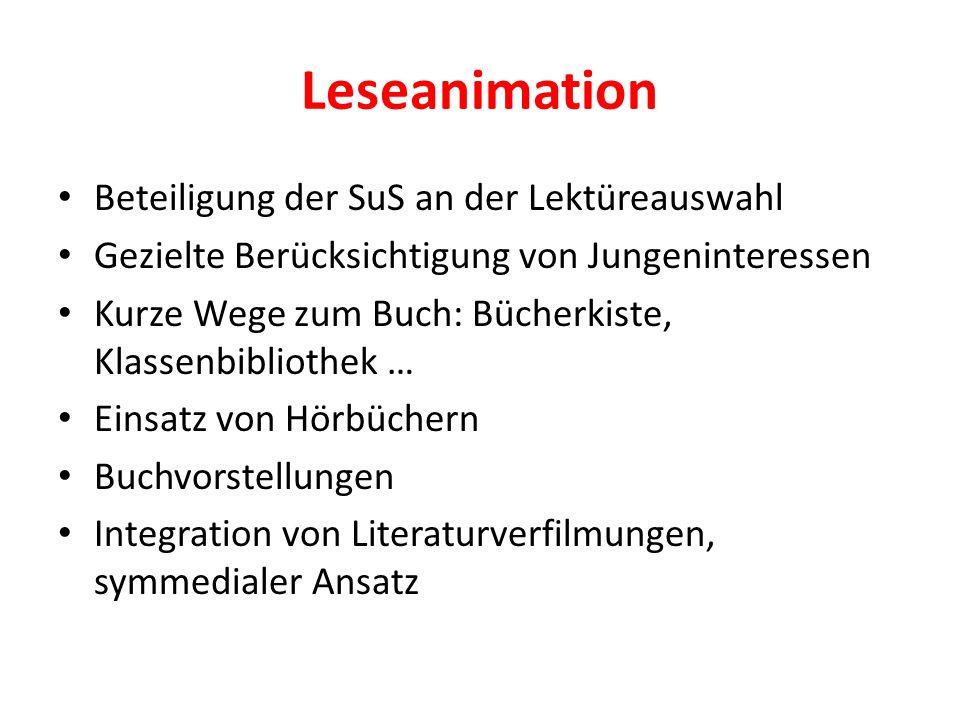 Leseanimation Beteiligung der SuS an der Lektüreauswahl