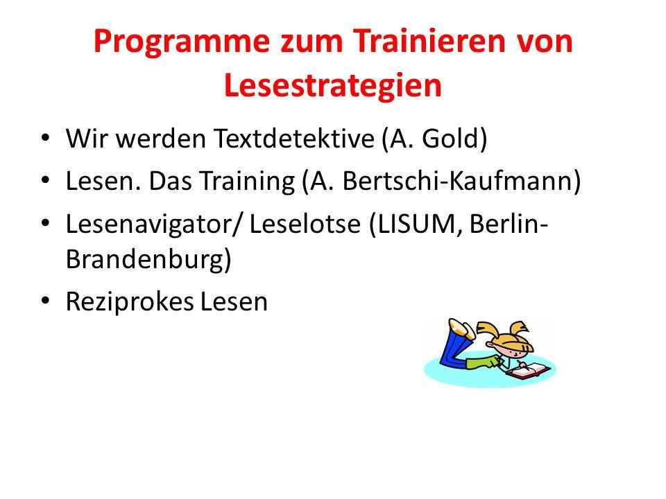 Programme zum Trainieren von Lesestrategien