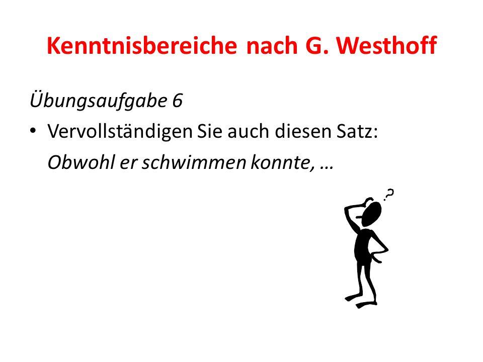 Kenntnisbereiche nach G. Westhoff