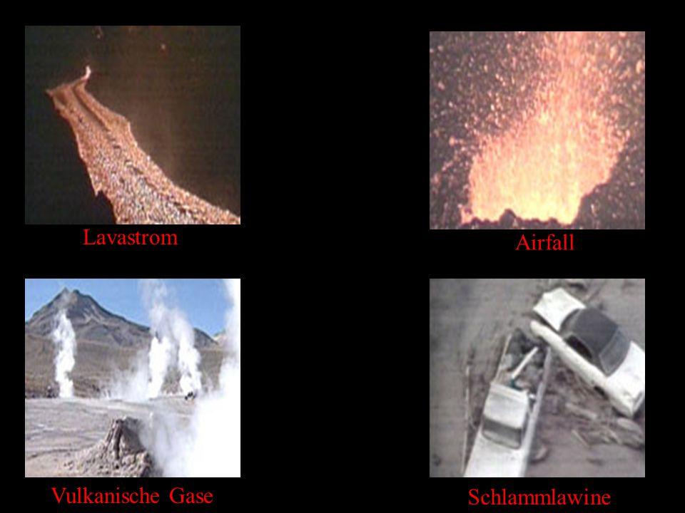 Lavastrom Airfall Vulkanische Gase Schlammlawine