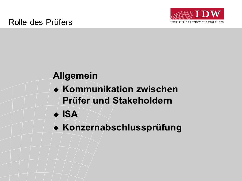 Kommunikation zwischen Prüfer und Stakeholdern ISA