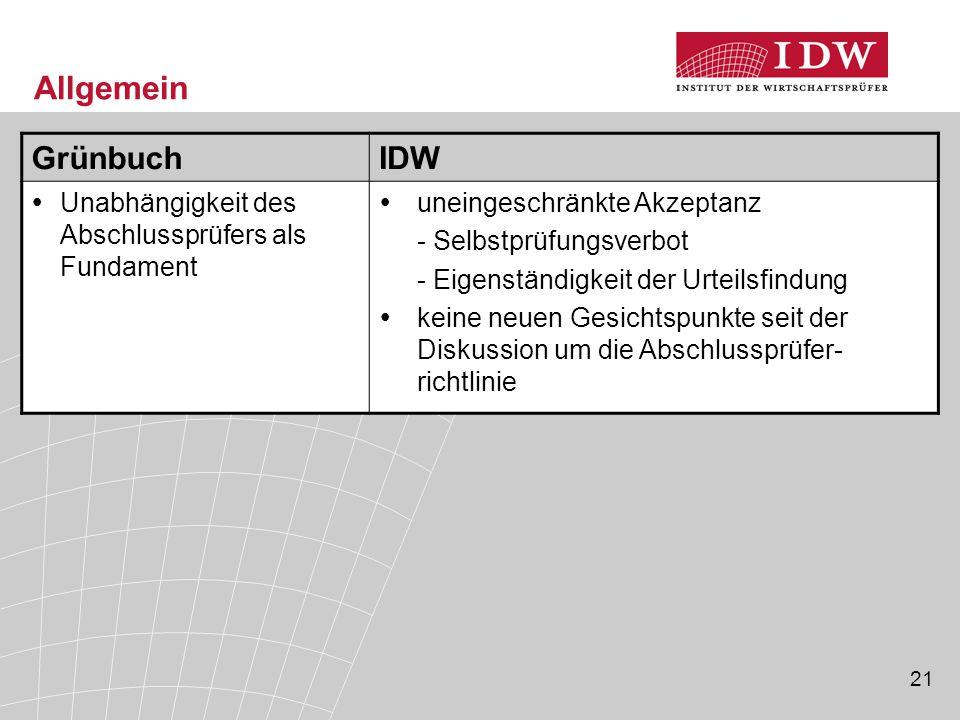 Allgemein Grünbuch IDW