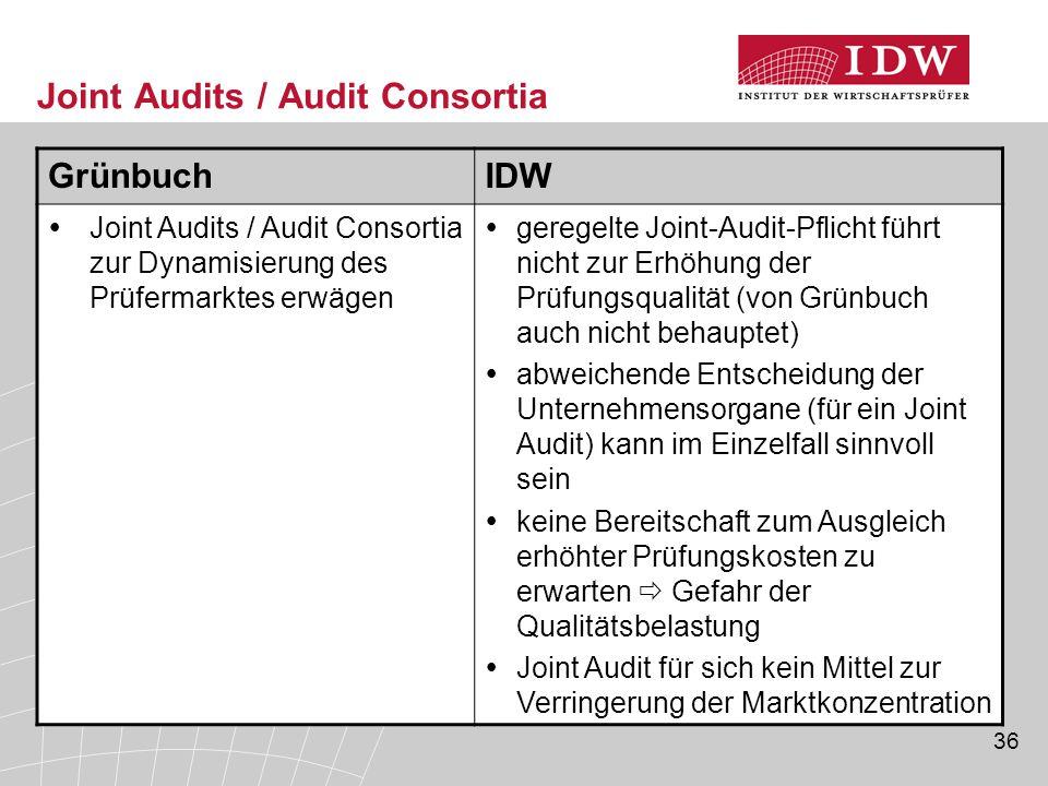 Joint Audits / Audit Consortia