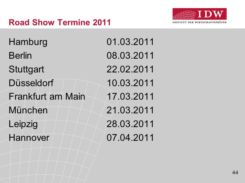 Hamburg 01.03.2011 Berlin 08.03.2011 Stuttgart 22.02.2011