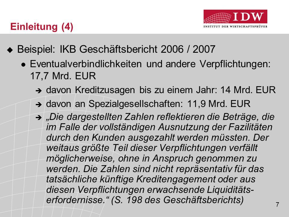 Beispiel: IKB Geschäftsbericht 2006 / 2007