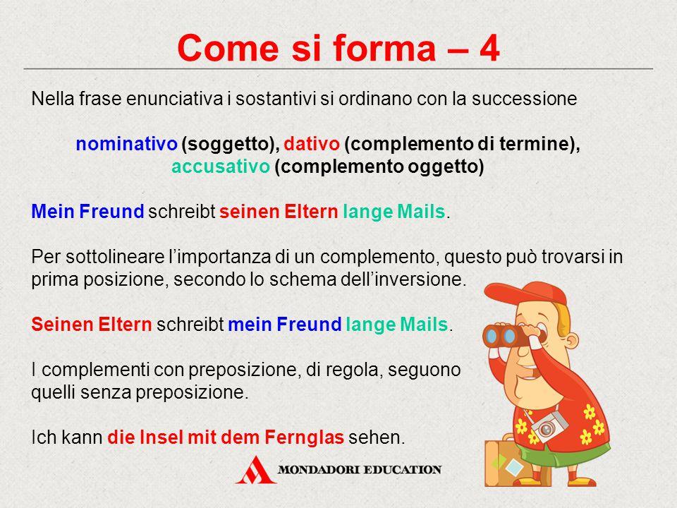 Come si forma – 4 Nella frase enunciativa i sostantivi si ordinano con la successione.