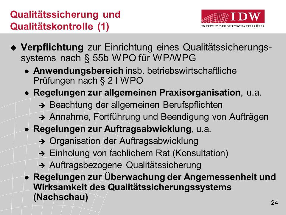Qualitätssicherung und Qualitätskontrolle (1)