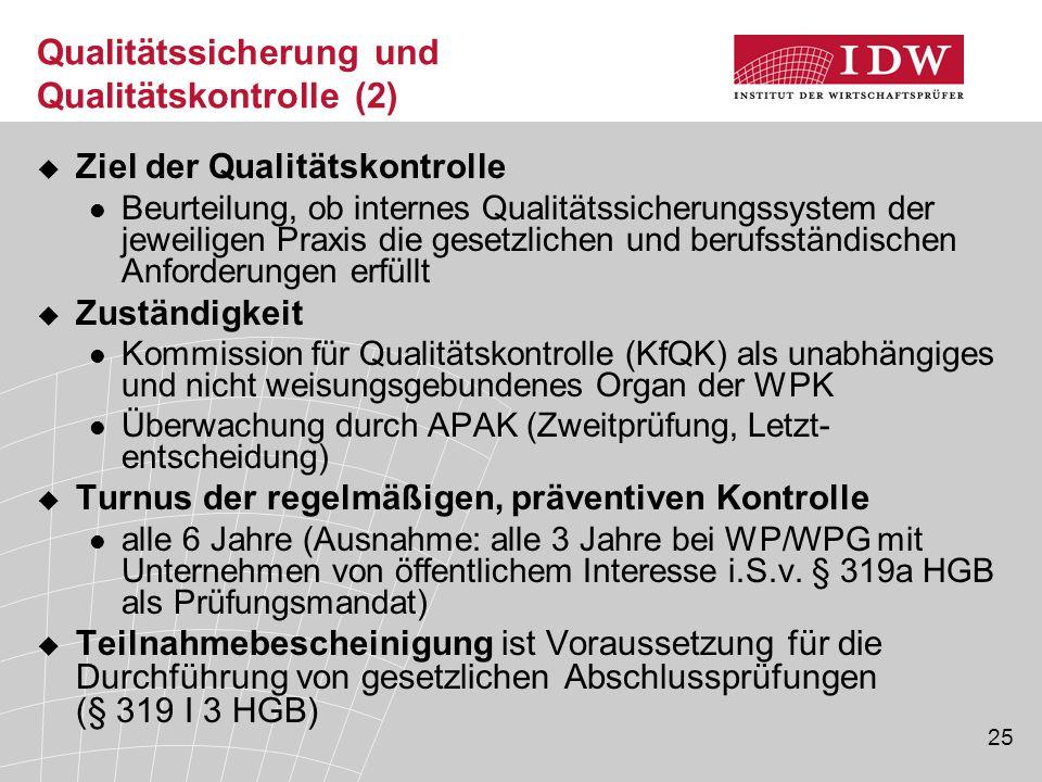 Qualitätssicherung und Qualitätskontrolle (2)