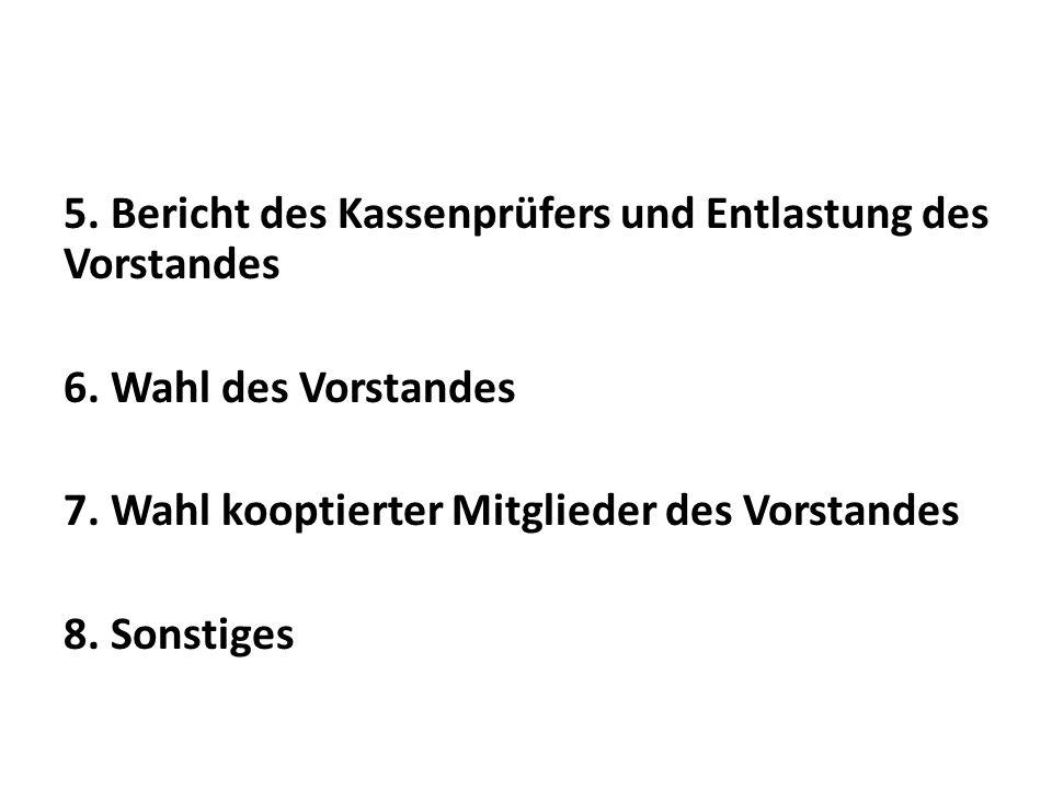 5. Bericht des Kassenprüfers und Entlastung des Vorstandes 6