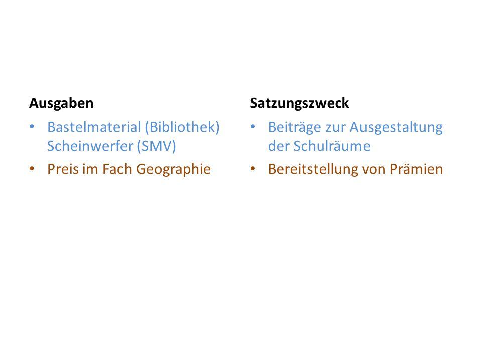 Ausgaben Satzungszweck. Bastelmaterial (Bibliothek) Scheinwerfer (SMV) Preis im Fach Geographie. Beiträge zur Ausgestaltung der Schulräume.