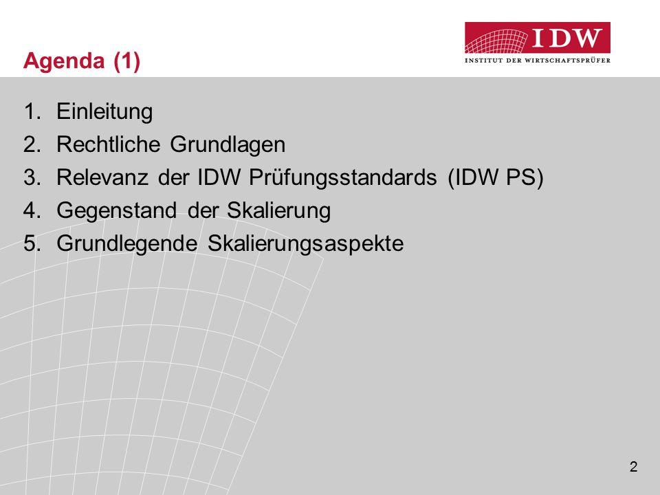 Agenda (1) Einleitung. Rechtliche Grundlagen. Relevanz der IDW Prüfungsstandards (IDW PS) Gegenstand der Skalierung.