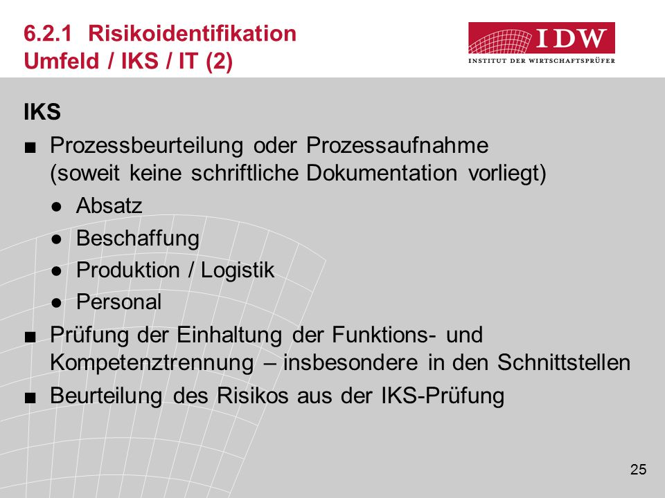 6.2.1 Risikoidentifikation Umfeld / IKS / IT (2)