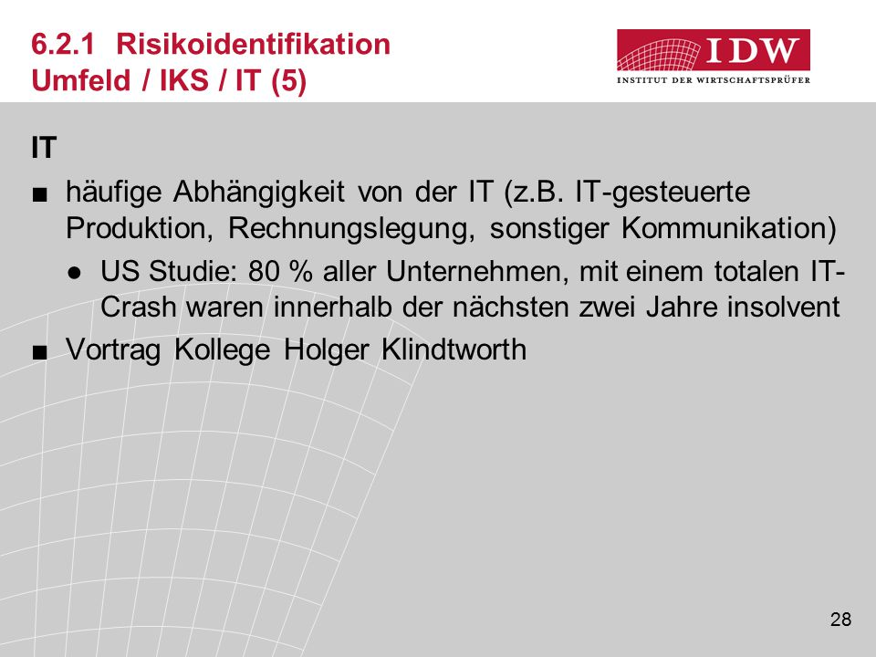 6.2.1 Risikoidentifikation Umfeld / IKS / IT (5)