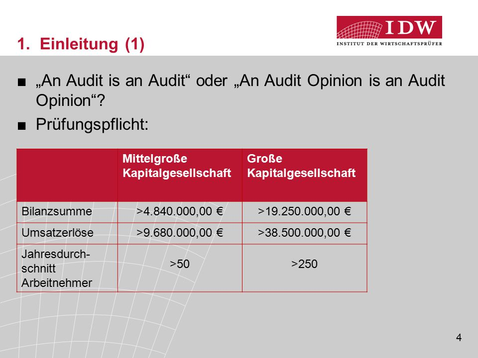 """An Audit is an Audit oder ""An Audit Opinion is an Audit Opinion"
