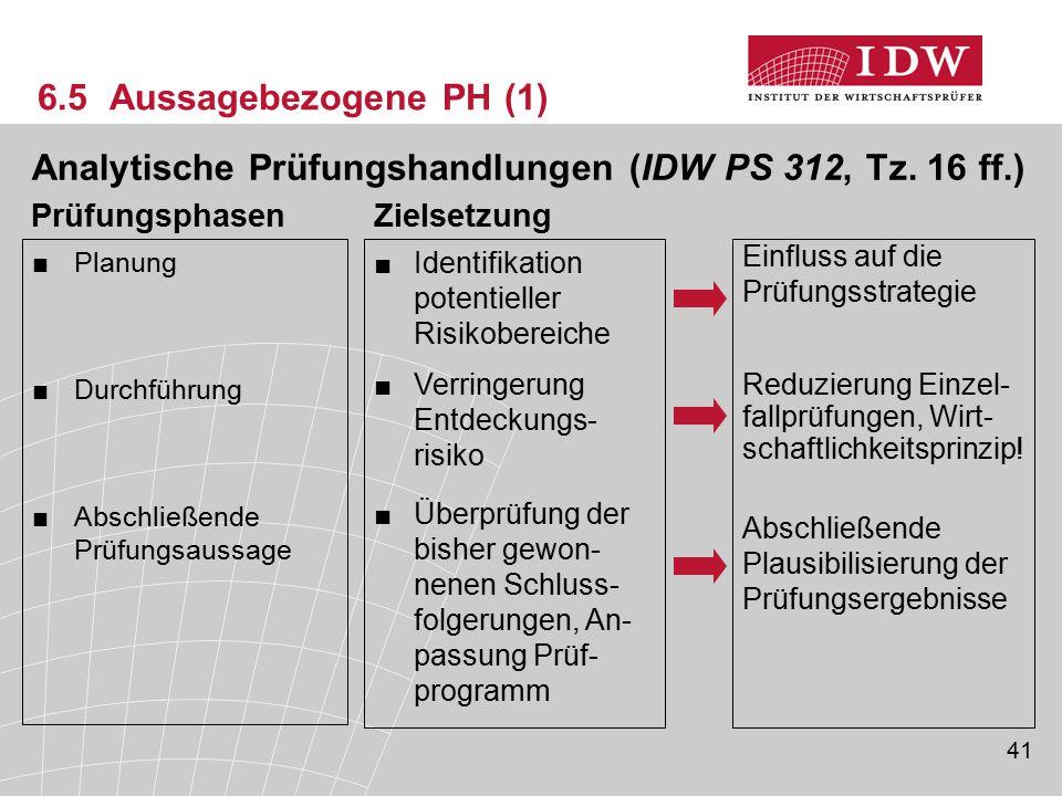 Analytische Prüfungshandlungen (IDW PS 312, Tz. 16 ff.)