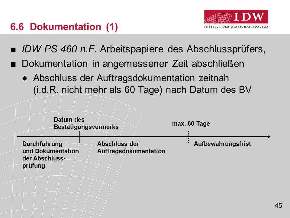 IDW PS 460 n.F. Arbeitspapiere des Abschlussprüfers,