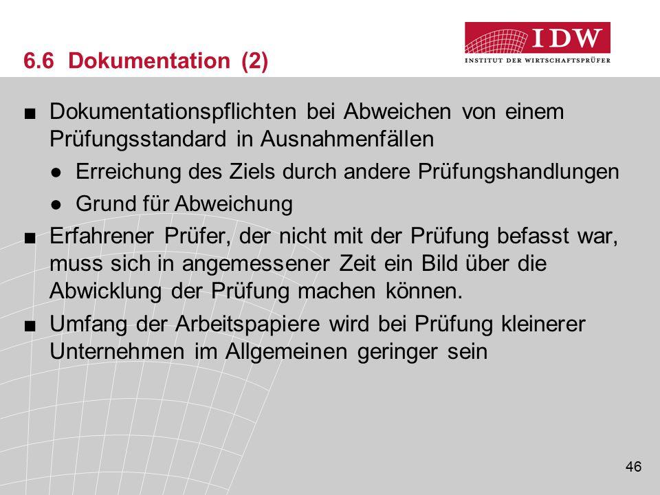 6.6 Dokumentation (2) Dokumentationspflichten bei Abweichen von einem Prüfungsstandard in Ausnahmenfällen.