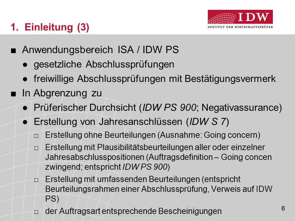 Anwendungsbereich ISA / IDW PS