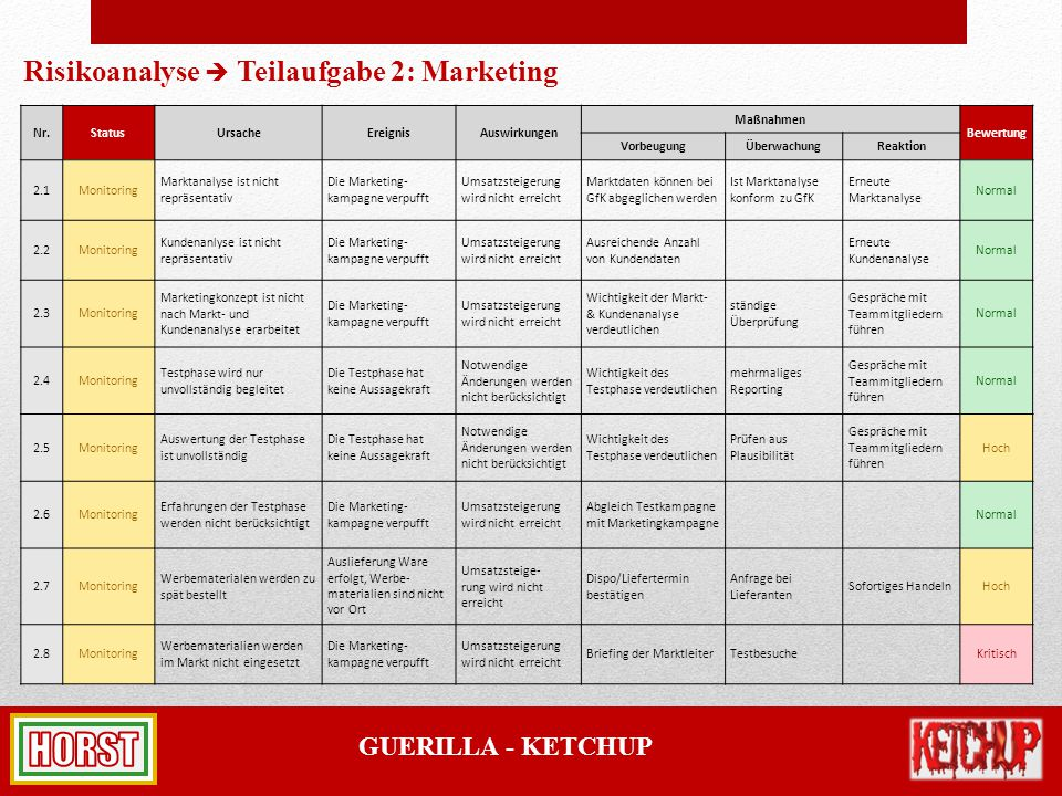 Risikoanalyse  Teilaufgabe 2: Marketing