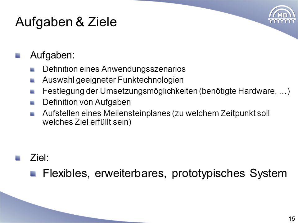 Aufgaben & Ziele Flexibles, erweiterbares, prototypisches System