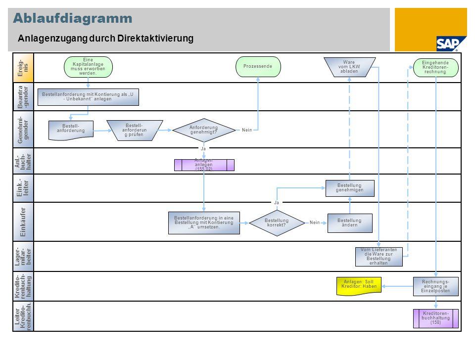 Ablaufdiagramm Anlagenzugang durch Direktaktivierung Eink.-leiter