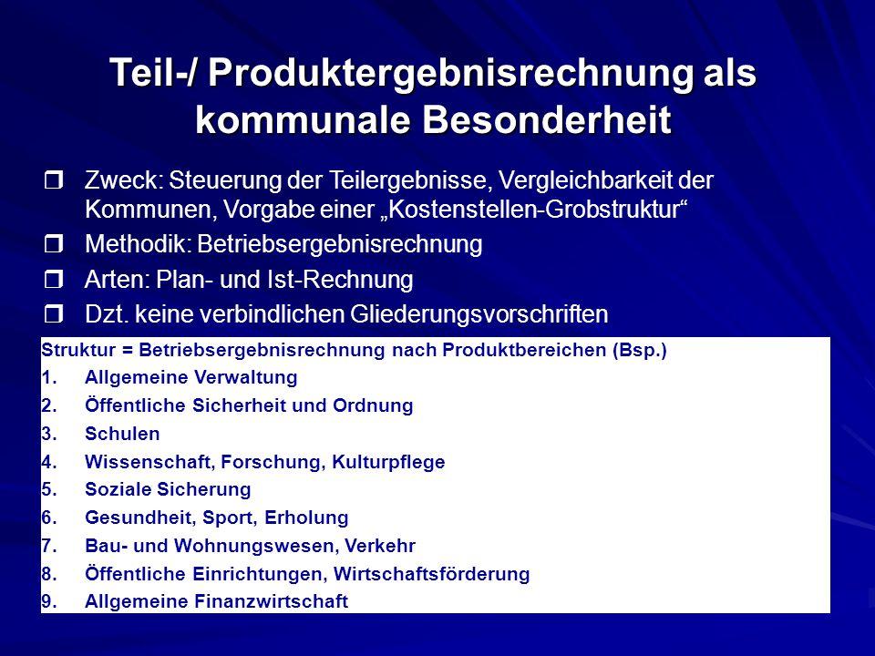 Teil-/ Produktergebnisrechnung als kommunale Besonderheit
