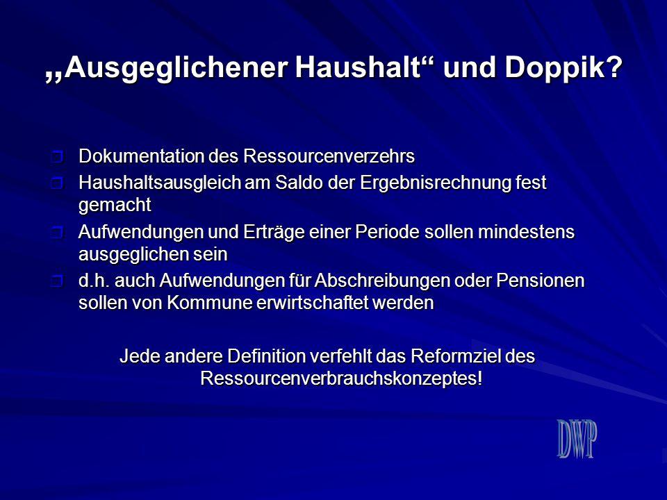 """""""Ausgeglichener Haushalt und Doppik"""