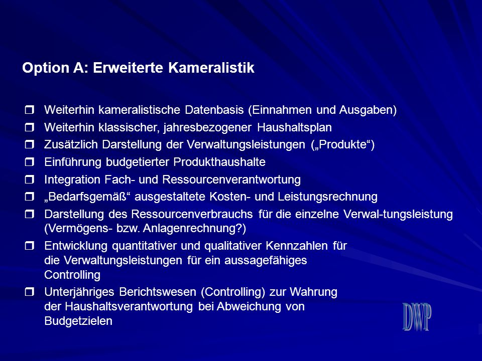 Option A: Erweiterte Kameralistik