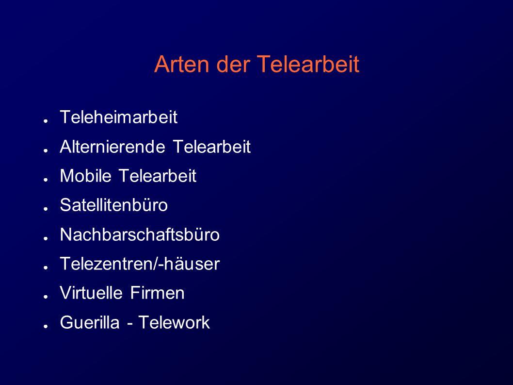 Arten der Telearbeit Teleheimarbeit Alternierende Telearbeit